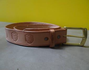 Tan Leather Belt, Brass Buckle, Lion Print