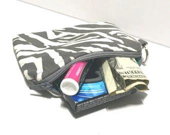 Small cosmetic pouch, zipper purse, gray zebra zipper pouch