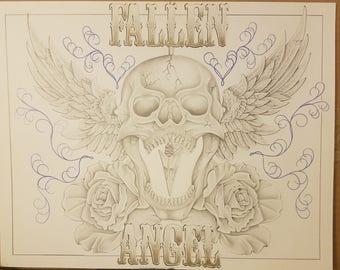 ORIGINAL Colored Pencil Drawing - FALLEN ANGEL - prison art