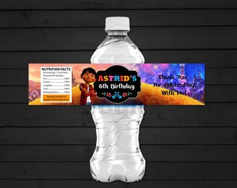 Personalized Coco Water Bottle Label Miguel Dante Guitar Birthday Party Printable DIY - Digital File
