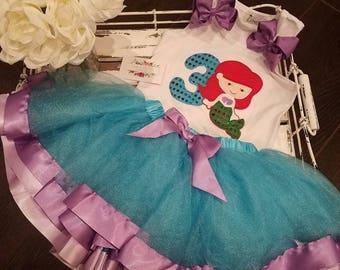 Mermaid 3rd. Birthday Outfit, TUTU skirt, Birthday Girl,