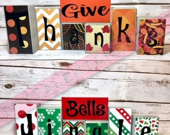 Reversible Holiday Blocks!!!! Holiday Decorations!!! Give Thanks! Jingle Bells/Thanksgiving/Christmas Decorations  FREE SHIPPING!!!!!!