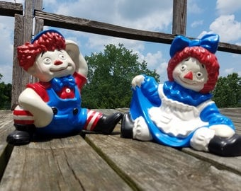 Rare Raggedy Ann and Raggedy Andy authentic hard to find ceramic collectible antiques