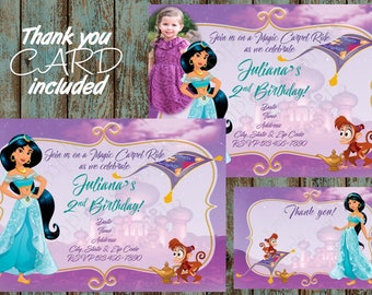 Jasmine Invitation, Princess Jasmine Invitation, Jasmine Birthday Party, Jasmine Printable Invitation, Princess Jasmine Thank you card