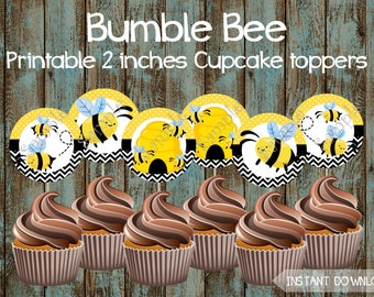 Bee Cupcake Toppers, Bee birthday Cupcake Toppers, Bumble Bee Printable Cupcake toppers, Bee Birthday Party, Bumble Bee Party Supplies