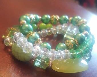 Green Bracelet Set/ Green Bracelet Stack/ Stackable Bracelets/ Stretch Bracelets/ Set of Three (3)
