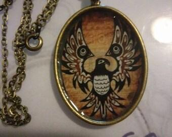 Gold Native American Thunderbird Necklace