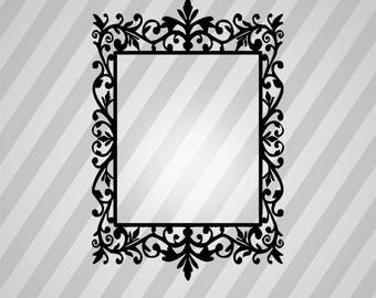 Decorative Floral Frame Silhouette - Svg Dxf Eps Silhouette Rld RDWorks Pdf Png AI Files Digital Cut Vector File Svg File Cricut Laser Cut