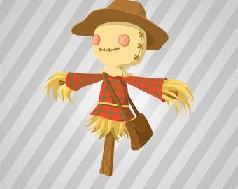 Cartoon Scarecrow - Svg Dxf Eps Silhouette Rld RDWorks Pdf Png AI Files Digital Cut Vector File Svg File Cricut Laser Cut