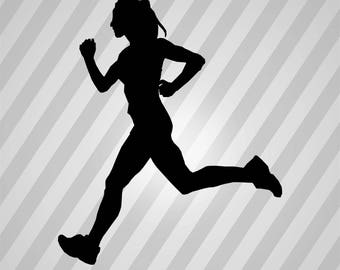 Female Runner 2 - Svg Dxf Eps Silhouette Rld RDWorks Pdf Png AI Files Digital Cut Vector File Svg File Cricut Laser Cut