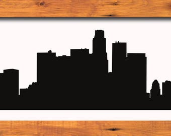 Los Angeles Skyline Silhouette Los Angeles California - Svg Dxf Eps Silhouette Rld Pdf Png AI Files Digital Cut Vector File Cricut Laser Cut