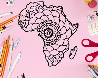 Mandala Monogram, Africa Map Mandala Svg, Mandala Africa Map Svg, Svg Files For Cricut, Mandala Svg, Mandala, Animal Mandala Svg, Mandala
