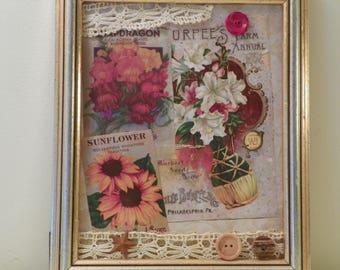 Vintage seed packet,catalog collage/Autumn color vintage seed packet art/unique home decor/OOAK