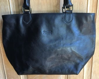 Little black leather handbag made in italy