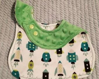 Rocketship bib, Curvy Bib, Baby bib, Gender Neutral, bib Baby shower gift, Newborn gift, rocketship, green, minky