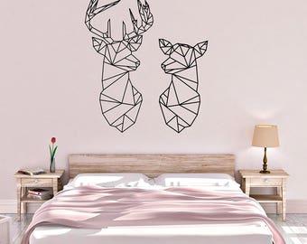 Wall Sticker Wall Sticker-geometric deer pair/head/antler