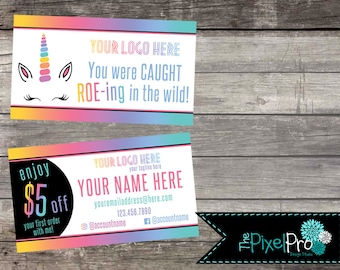 LulaRoe business cards with coupon and unicorn, LulaRoe caught roe-ing in the wild business card, LulaRoe promo card, LulaRoe marketing card