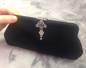 1950's black fabric purse with diamante clasp detail designed to attach to belt.