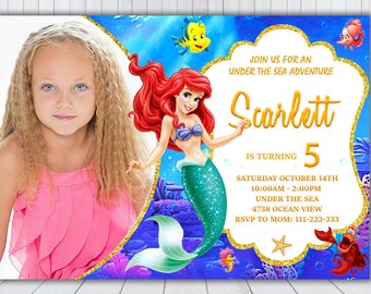 Little Mermaid Invitation - Little Mermaid Birthday Invitation - Little Mermaid Invite