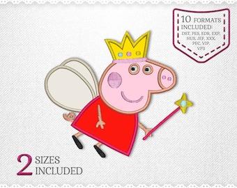 Peppa Pig Fairy Applique Machine Design - 2 Sizes - INSTANT DOWNLOAD - Applique, Embroidery, Designs