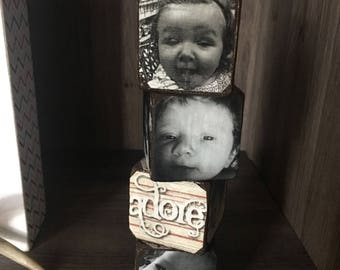 Handmade picture blocks set of 4