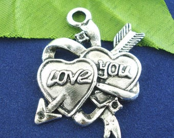 1 double heart pendant charm love 27 * 35 mm