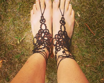 crocheted lace foot jewelry