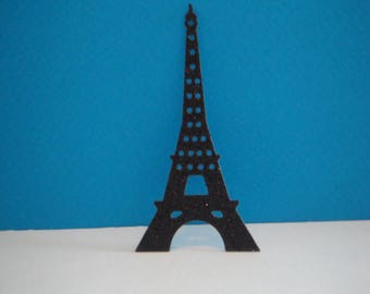 Cut black Eiffel Tower glitter for scrapbooking and card