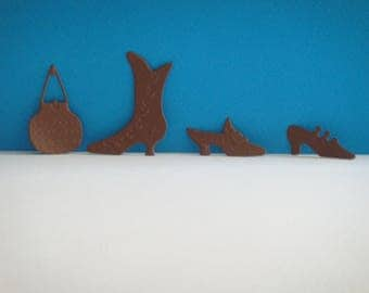 Set of 3 shoes and 1 brown bag for scrapbooking and card