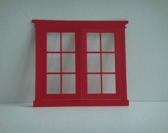 French window cut out paper red drawing for creation
