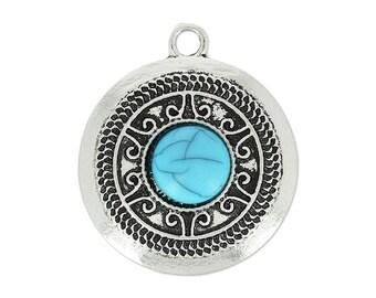 Antique silver ethnic pendant turquoise 31 mm * 1