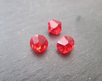 Swarovski 6 mm: 4 bicone Crystal beads light siam - Red