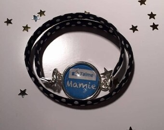 "Jewellery Bracelets Support & fabrics charms ""I love my grandma Facebook"""