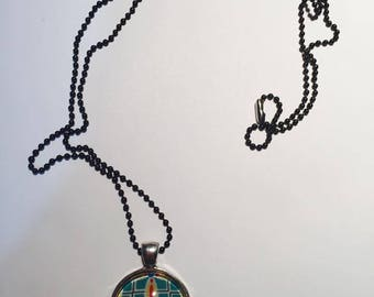 "Pendant and necklace mesh ball ""Ethnic Turquoise rosette"" cabochon"
