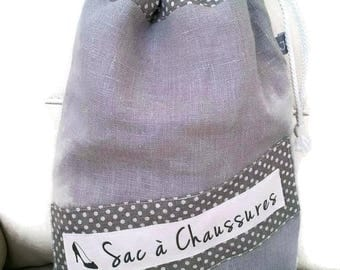 Shoes, slippers, gray linen lined pouch bag