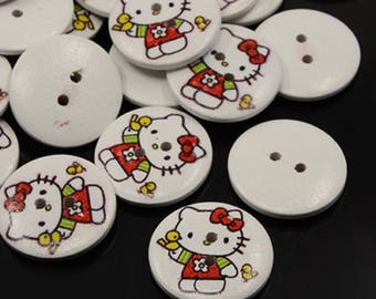 set of 20 buttons wooden hello kitty 18 mm