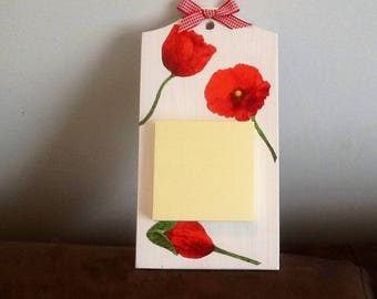 Painted wood decor poppies Notepad
