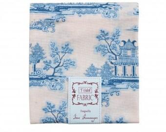 Fabric, coupon, 50/55 cm, china, blue, jouy, TILDA, patchwork style, clothing, landscape, China