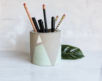 """Concrete Cylinder Pot - Mountain Decoration - Large Geometric Pencil Holder or Planter - 4"""" Tall - Mint or Custom Color Mountains"""