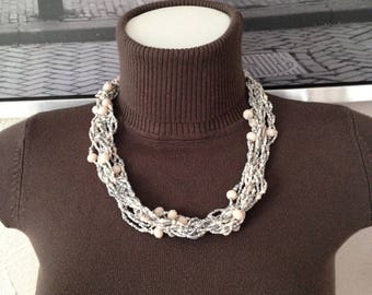 MULTISTRAND necklace twisted beads and seed beads faceted grey-cream tones
