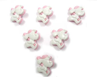 LOT 6 buttons: White/Pink 19mm dog