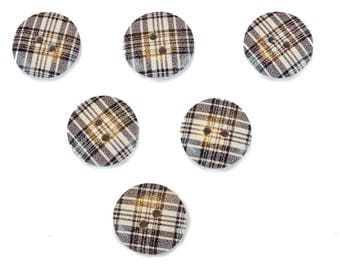 SET of 6 wood buttons: round fancy 18mm (03) pattern