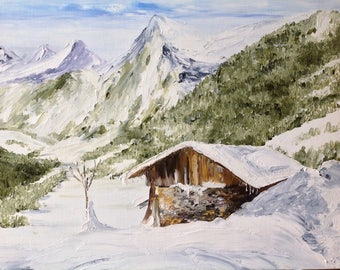 "Palette knife oil painting ""cabin in winter"""