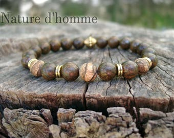 Mens bracelet style ethnic bronzite stones and Jasper Earth Ref: BN-231