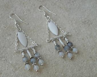 Ethnic earrings drop glazed white