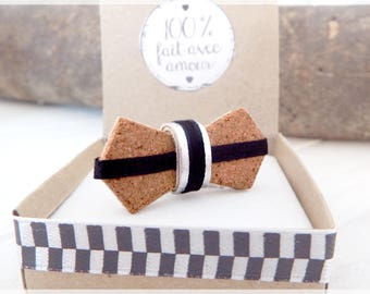 """Small Pins tie ' Cork, wood and leather """"Sidonie"""""""