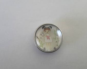 snap button 18mm pretty Princess in green and white glass cabochon