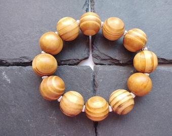 Wooden Bead Bracelet, Chunky Bracelet, Stretch Bracelet, Brown Bracelet