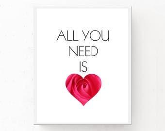 Fashion Print, Modern Wall Art, Fashion Download, Love Print, All You Need is Love, Modern Living Room, Fashion Wall Art, Heart Print, Love