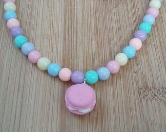 Pink macaroon necklace, pink bow